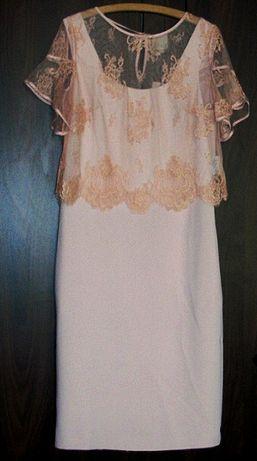 Sukienka z jedwabiem z narzutą koronkową marki PAOLA COLLECTION