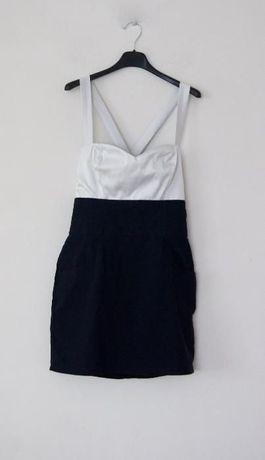 bialo czarna czarno biala krotka elegancka sukienka skrzyzowania 38 M