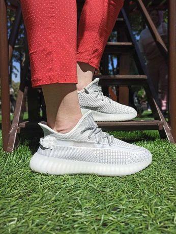 Женские кроссовки сеточка в стиле Adidas Yeezy boost 350 серые