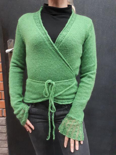 Кофта вовняно-мохерова на запах зеленого кольору