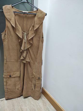 Vestido beje caqui da Massimo Dutti