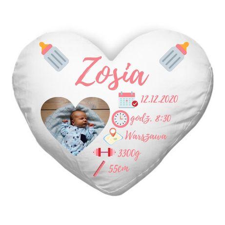 Poduszka serce z metryką / metryka urodzenia / prezent dla noworodka