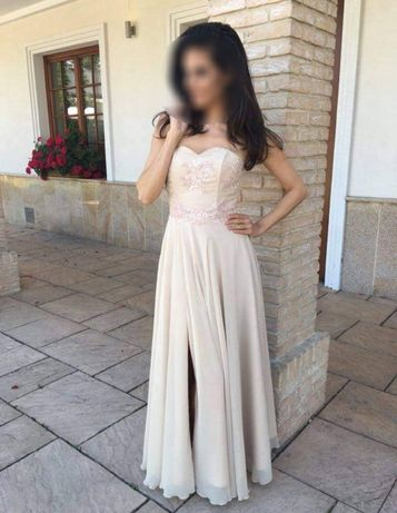 Piękna długa sukienka świadkowa druhna 36 beż ślub cywilny