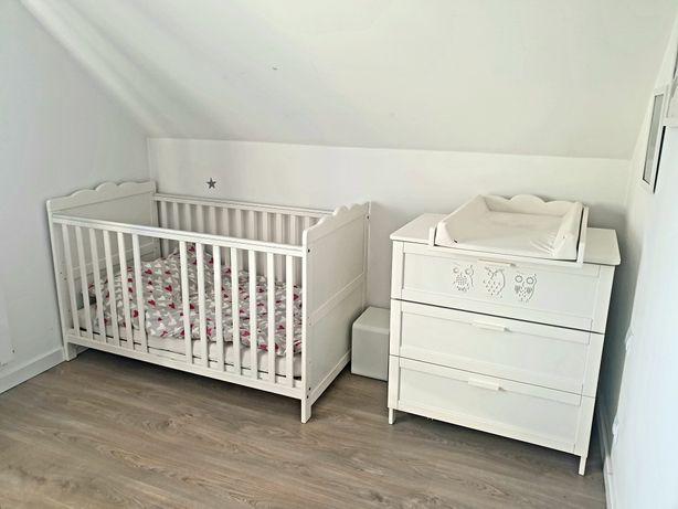 komplet mebli do pokoju dziecka, komoda, szafa, łóżeczko