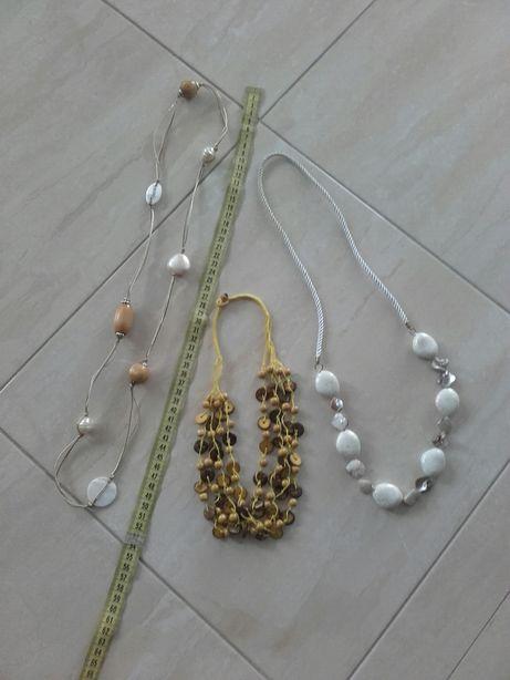 Korale biżuteria ecru żółte białe