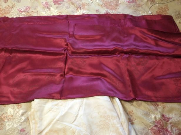 Шторы атласные, ткань на шторы советская СССР бордовая молочная
