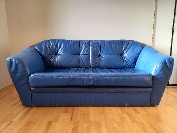 Sofa skórzana rozkładana z sunkcją spania
