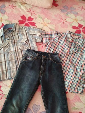 Теплые джинсы, рубашки