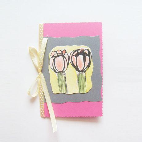 kolorowa kartka tulipany, różowa kartka ręcznie robiona, ładna kartka