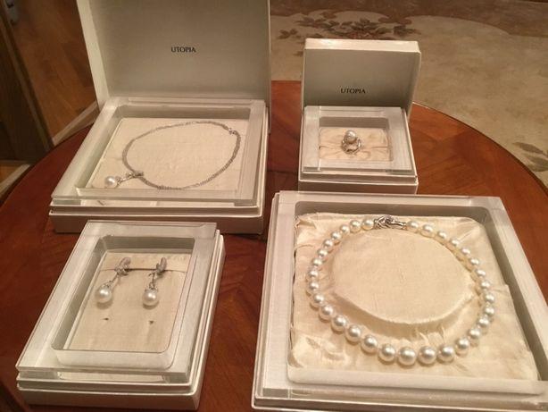 ! Эксклюзивный  ювелирный набор UTOPIA ( Italy) Бриллианты и Жемчуг