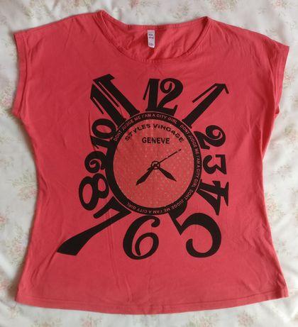 Bluzka t-shirt zegar XL