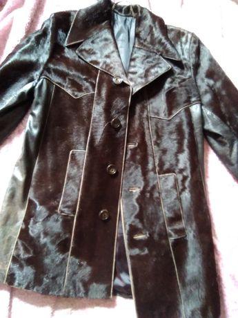 Skóra sierść końska końskie włosie kurtka płaszcz Vintage PRL