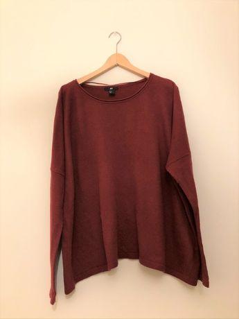 H&M bordowy sweter oversize nietoperz (38 M)