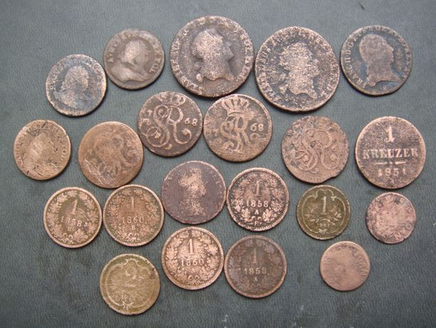 Медные монеты Австрия, Польша, Россия - куча одним лотом!