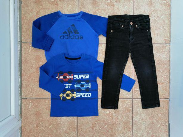 Стильный набор: свитшот реглан спортивная кофта Adidas чёрные джинсы