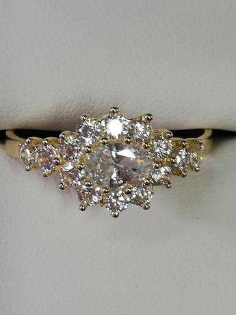 NOWY złoty pierścionek Bajeczny kryształowy Szeroki Błyszczy zareczyny