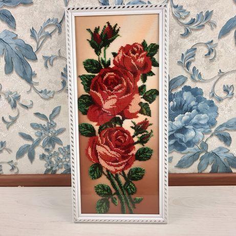 картина , подарок, розы, ручная робота