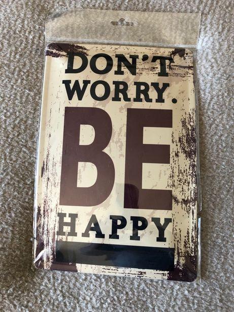 "Placa decorativa metálica ""Be Happy"" 30x20cm"