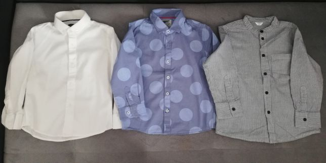 Koszula biała, w grochy, w paski 98, 104