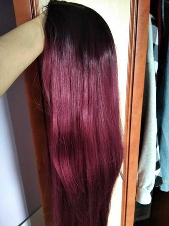 Peruka róż/fiolet długa