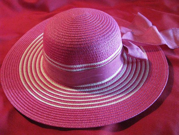 Новая широкополая соломенная шляпа женская пляжная. Летняя Красная.
