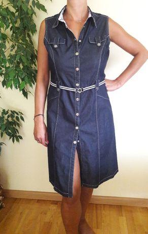 Sukienka szmizjerka granat jeans zatrzaski XL,bez rękawów
