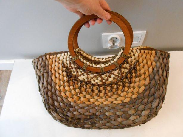 Torba wyklinowa koszyk modna boho etno vintage