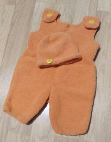 Вязанный Комбинезон с шапочкой ручной работы