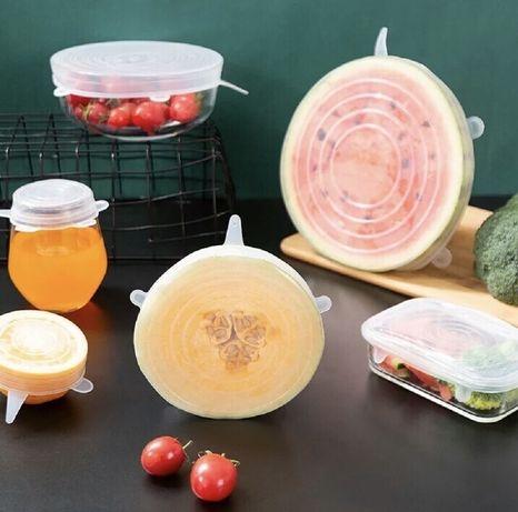 Набор силиконовых универсальных крышек для пищевых продуктов 6 шт.