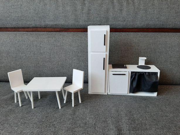 Meble kuchenne dla lalki Barbie kuchnia krzesło stół lodówka domek