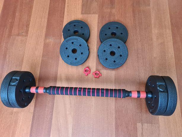 Barra de musculação e halteres