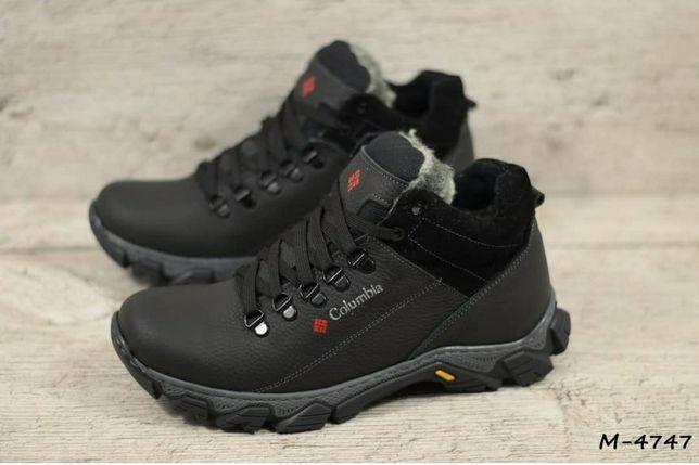 COLUMBIA 4747 зимние мужские кожаные прошитые ботинки кроссовки мех