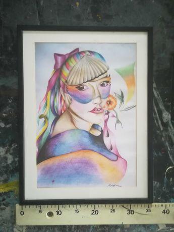 Pinturas diversas para decoração/exposição com moldura