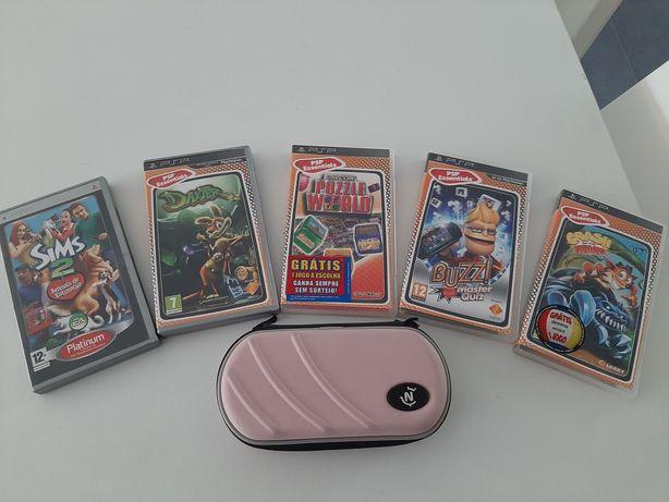Jogos e capa protetora PSP