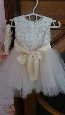 Платье нарядное + повязка цвет шампань.