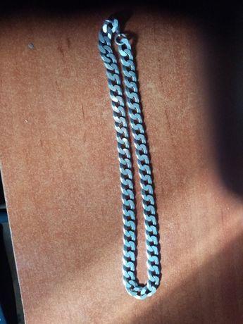 gruby łańcuch srebrny próba 925 pancerka 61g, 57cm długi, 1cm szeroki