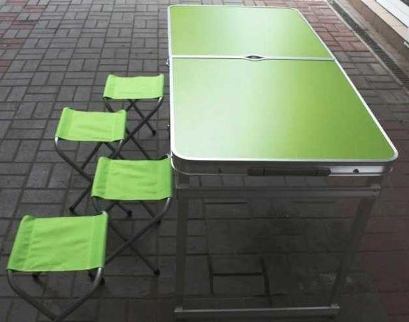 Посилений стіл для пікніка природи, усилений стіл + 4 стула + зонтик