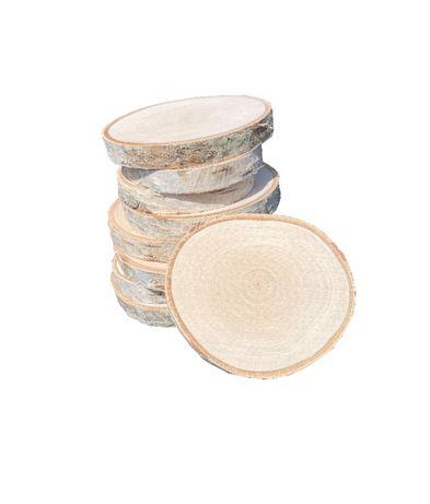 Plastry drewniane brzozowe, krążki brzoza drewniane szlifowane 10-12cm