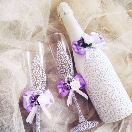 Свадебные бокалы, свечи и другие атрибуты на заказ