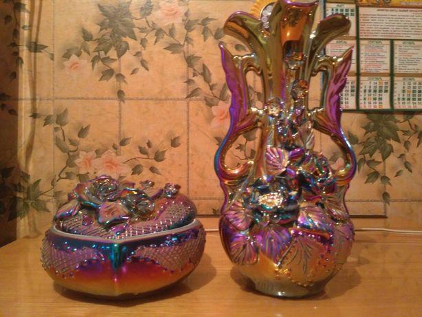 Набор из вазы и шкатулки керамика в отличном состоянии