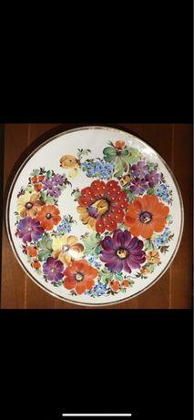 Большое настенное блюдо Цветы КФЗ