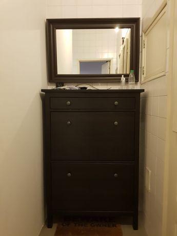 Vendo sapateira e espelho Ikea de cor preta