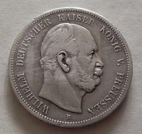 5 марок, 1876 г, Германская империя, Пруссия, серебро