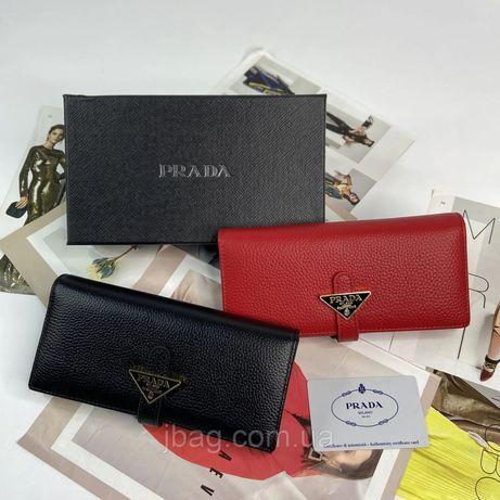 Женский кожаный кошелёк клатч Prada Прада жіночий шкіряний гаманець