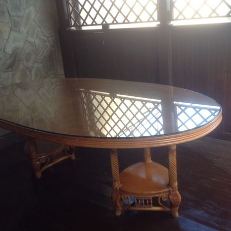 Стол обеденный большой овальный, ротанг Индонезия