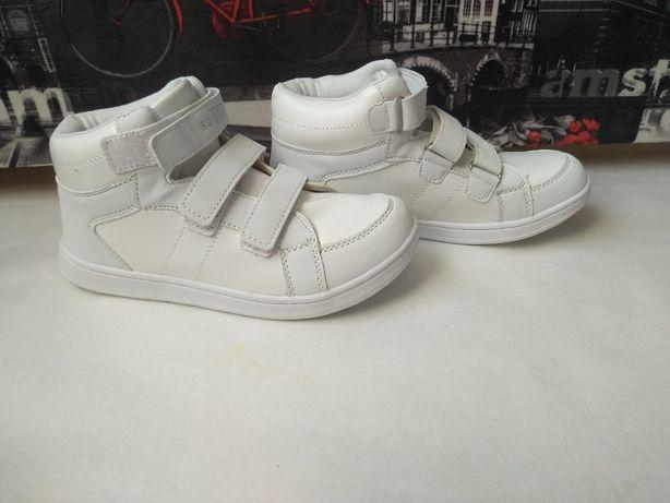 Белые кеды на липучках для мальчика или девочки,36-22,7 см