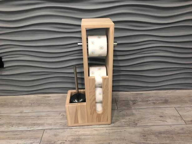 Stojak drewniany na papier toaletowy Exclusive naturalny + szczotka WC