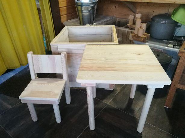 zestaw meble dla dzieci krzesełko stolik skrzynia na pluszaki eko