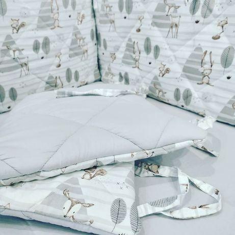 Бортики плоские стеганные, защита в кроватку, постельное белье детское