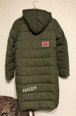 Пуховик зимний теплый S куртка длинное пальто